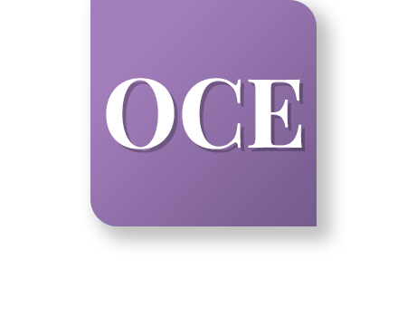 "Icon with letters ""OCE"" on it"