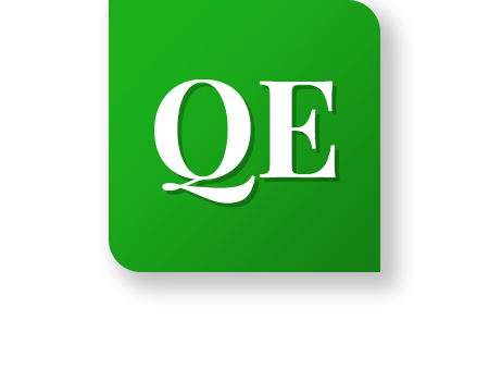 "Icon with letters ""QE"" on it"